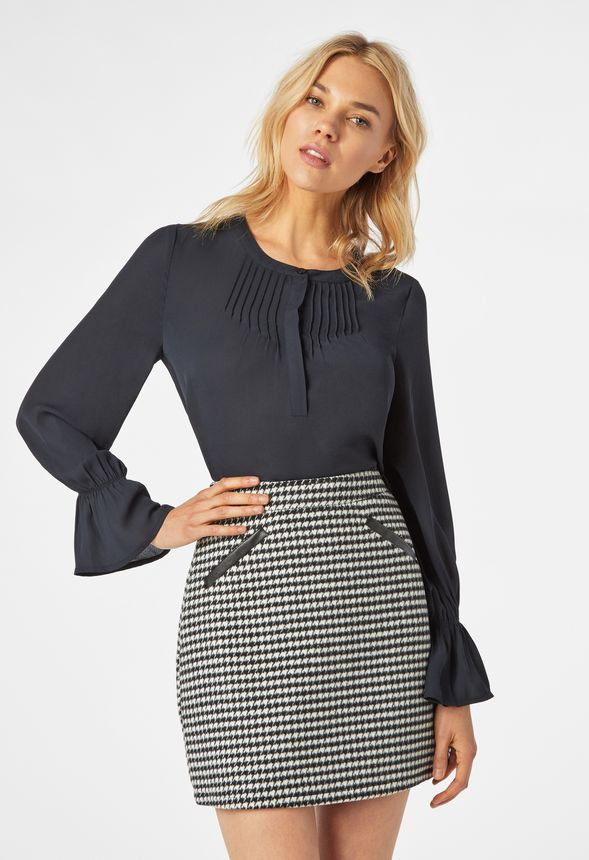99f800f2de61 Houndstooth Skirt in Black Multi - Get great deals at JustFab