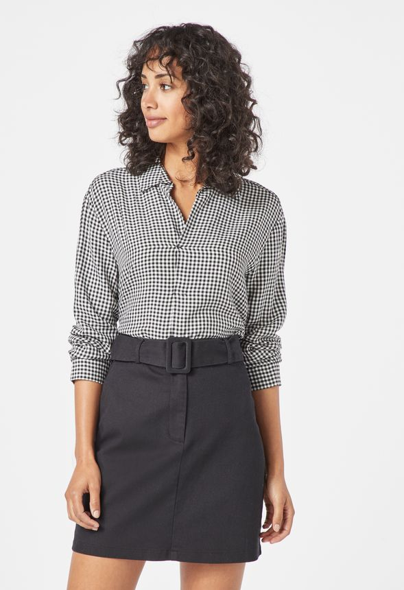 WAREHOUSE COTTON D-RING BELTED ALINE MINI SKIRT  RETAIL £39.00