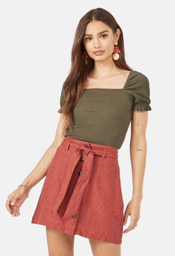694d2ae99efc Tie Waist Linen Skirt in Red - Get great deals at JustFab