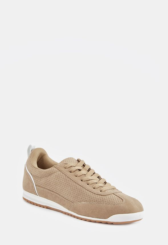 Karlita Faux Suede Sneaker in Taupe - Get great deals at JustFab