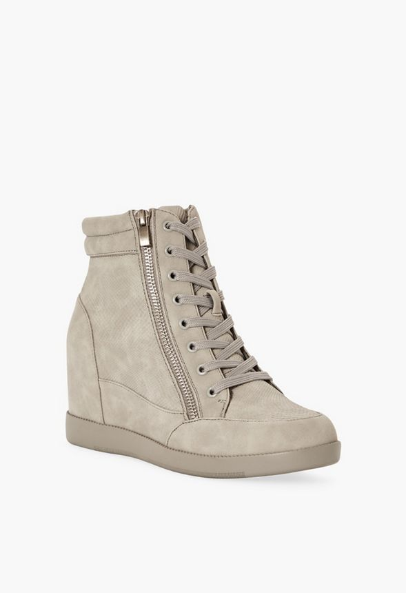 66bffcf60a05 The Cool Girl Wedge Sneaker in Grey Faux Leather - Get great deals ...