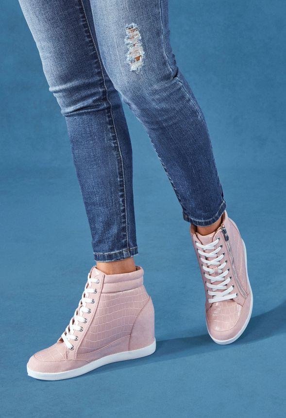 Cool Girl Wedge Sneaker in Pink Croc