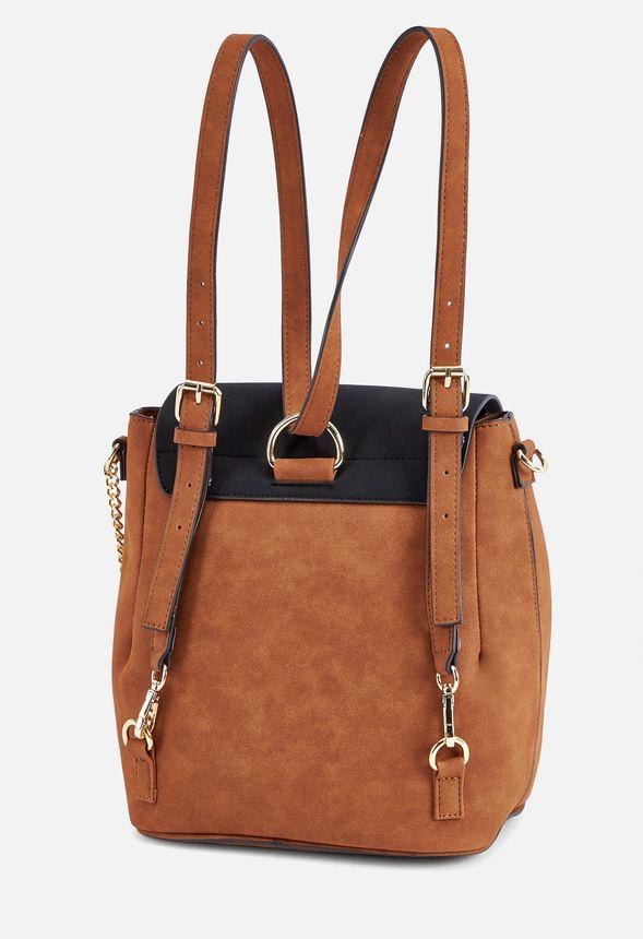 59c371fd18f Fabio Shoulder Bag in black pu cognac - Get great deals at JustFab