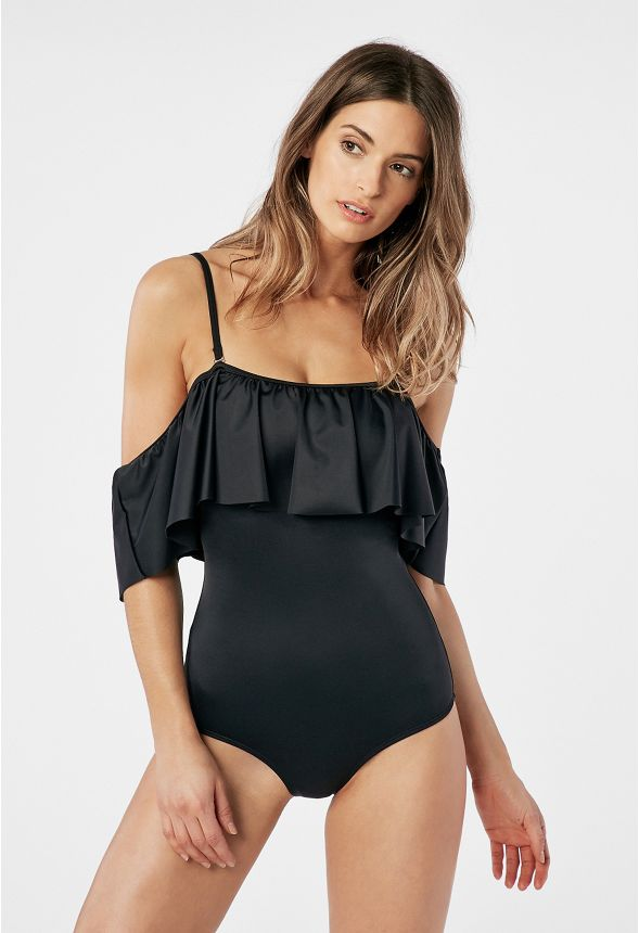 78906de605 Off Shoulder Ruffle Swimsuit in Black - Get great deals at JustFab