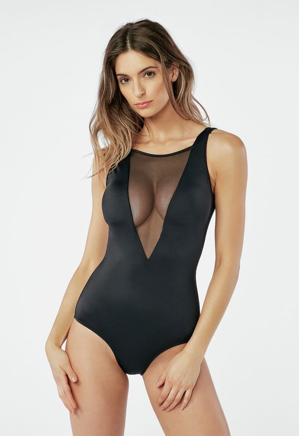 902e999cd6c Plunge Mesh Swimsuit in Black - Get great deals at JustFab