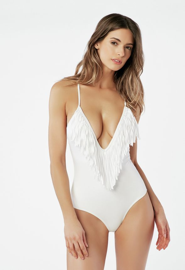 bac20740697dc Fringe Swimsuit in White - Get great deals at JustFab