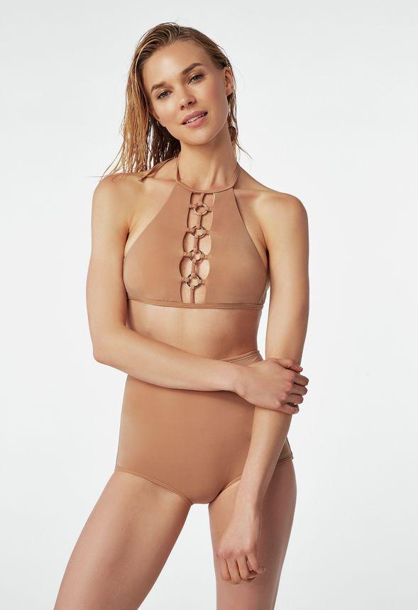 b5c8e5bdf O-Ring High Waisted Bikini in GOLDEN HONEY - Get great deals at JustFab
