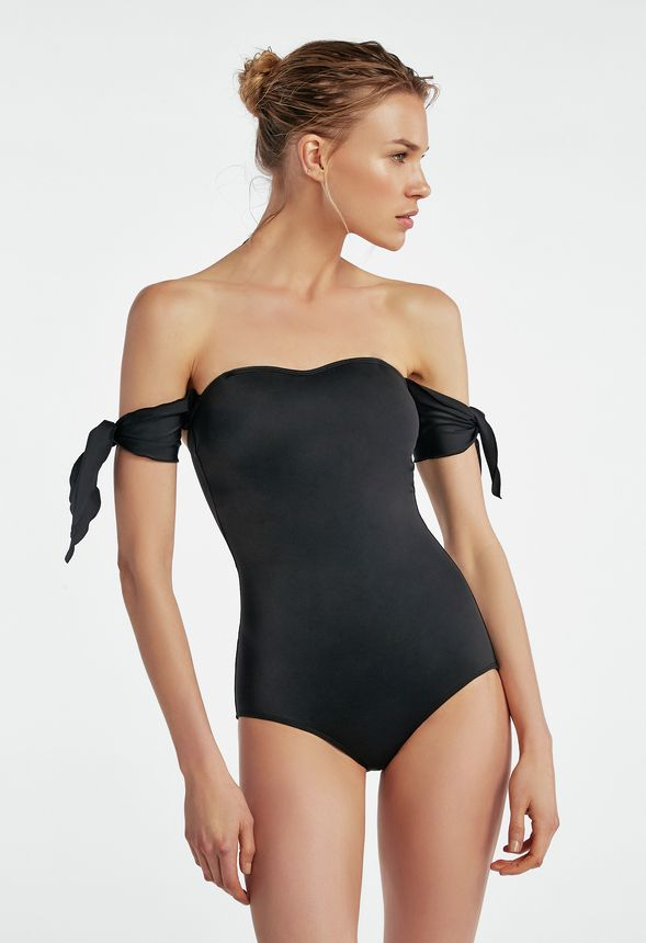 663c0239cc25 Off Shoulder Tie Sleeve Swimsuit in Black - Get great deals at JustFab