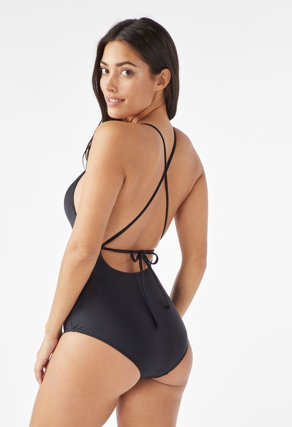 8ced3d98a4171 Plunge Tie Back One Piece Swimsuit in Black - Get great deals at JustFab