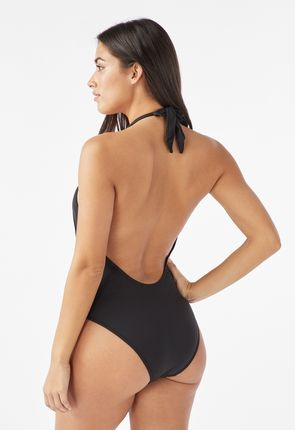 cc04eef1554 Lace-Up One Piece Swimsuit in Black /White Stripe - Get great deals ...