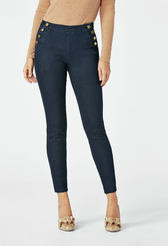5d08bdb7105f3 High Waisted Side Button Skinny Jeans in oxford blue - Get great deals at  JustFab