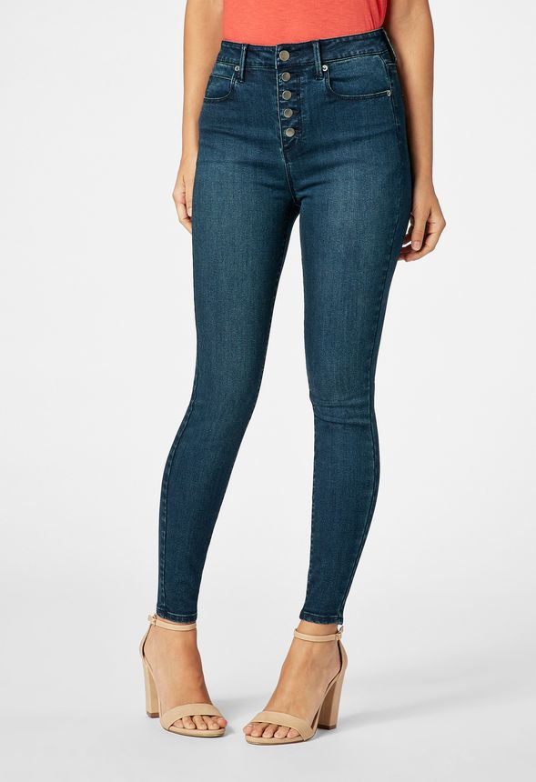47ec94bdba High Waisted Button Front Skinny Jeans in London Blue - Get great deals at  JustFab