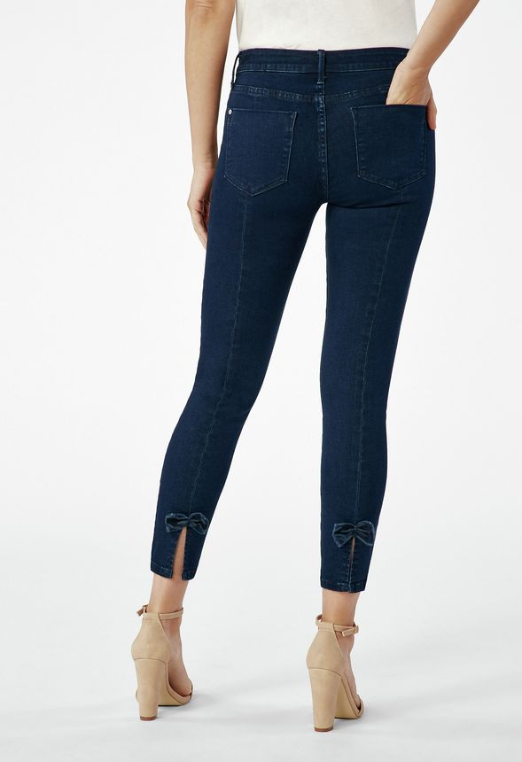 265987db9cb Skinny Ankle Grazer Jeans With Bow in OXFORD BLUE - Get great deals at  JustFab