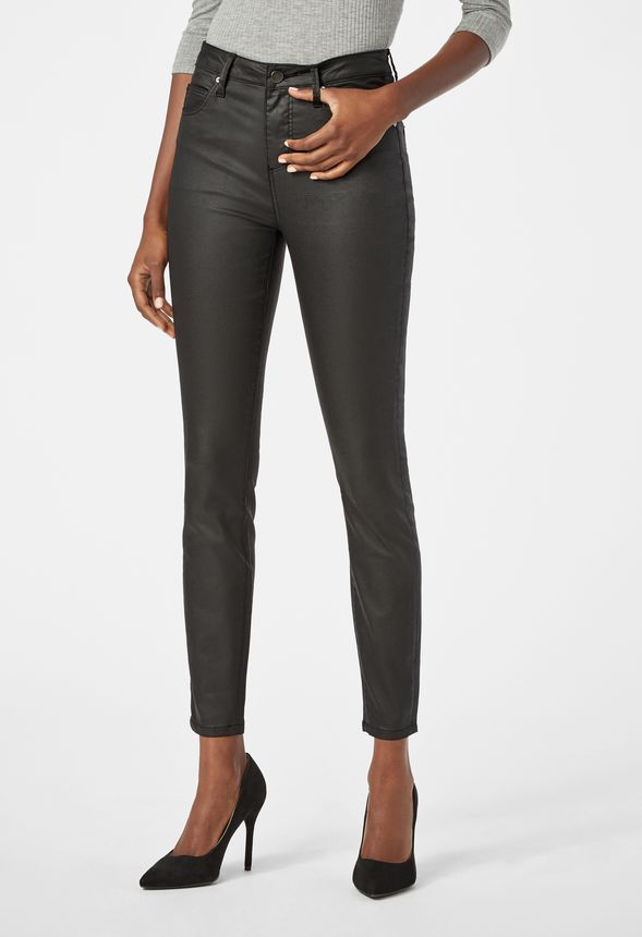 8ec091b7e262e Coated Highwaisted Signature Skinny Jeans in Black - Get great deals at  JustFab
