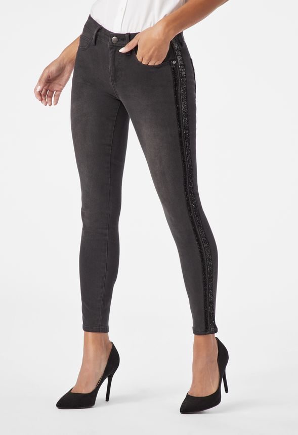 f9424f71ccbc Side Stripe Skinny Jeans in Grey Denim - Get great deals at JustFab