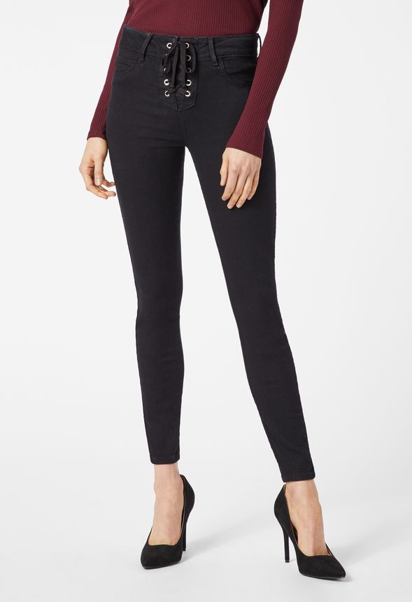 a5692c5fa7a High Waisted Front Lace Up Skinny Jeans in black rinse - Get great deals at  JustFab