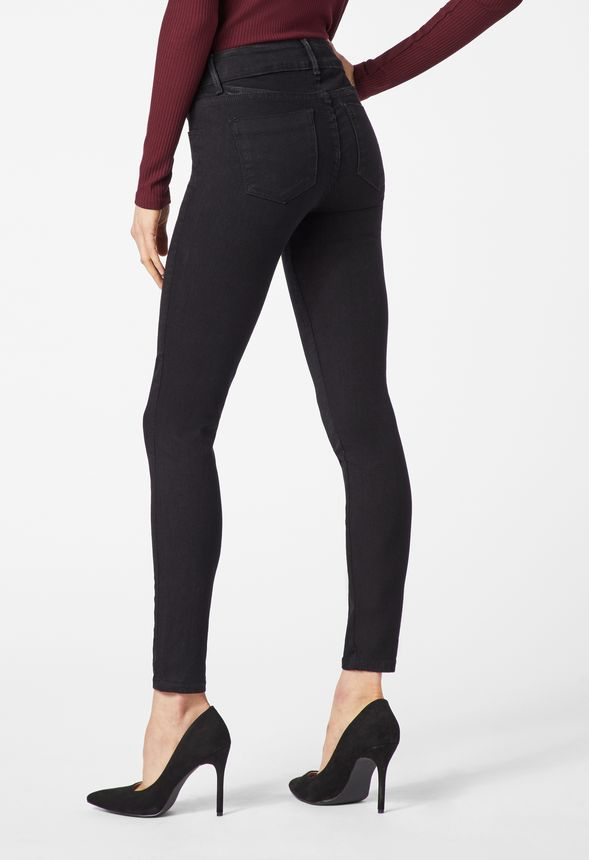 da0232acae4 High Waisted Front Lace Up Skinny Jeans in black rinse - Get great ...