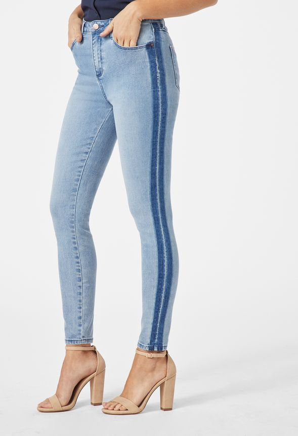 0560f649f High Waisted Side Stripe Skinny Jeans in Light Shadow Blue - Get great  deals at JustFab