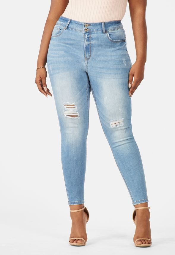 High Rise Push Up Skinny Jeans in MEDIUM WASH - Get great