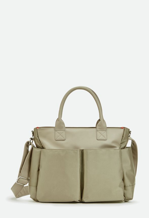 ebby diaper carry all satchel in taupe get great deals at justfab. Black Bedroom Furniture Sets. Home Design Ideas