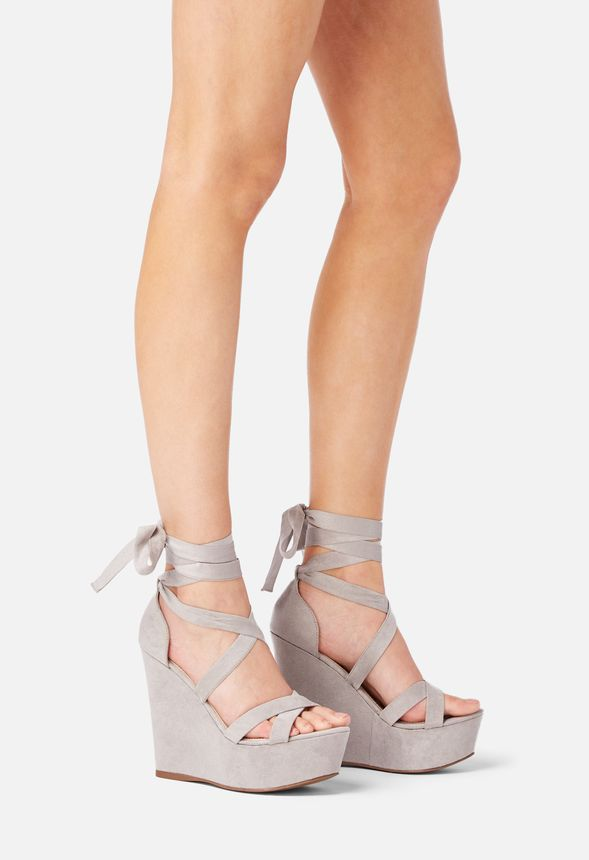 a12ae421cc8f Dahlia Lace-Up Wedge in Gray - Get great deals at JustFab