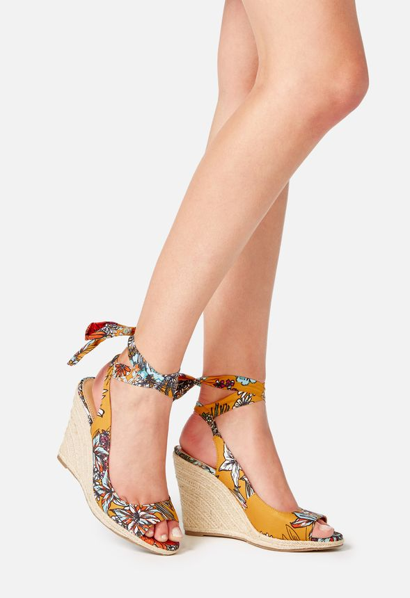 89f3f009eb20 Karuna Ankle Tie Espadrille Wedge in Yellow Print - Get great deals ...
