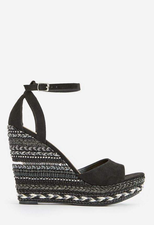 f9e57e7262f Kasabi Striped Wedge in Black - Get great deals at JustFab