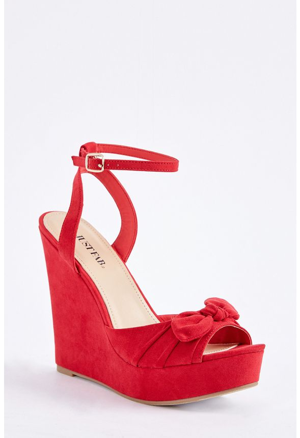 20f7668d11f7 Ginka Bow Wedge in Red - Get great deals at JustFab