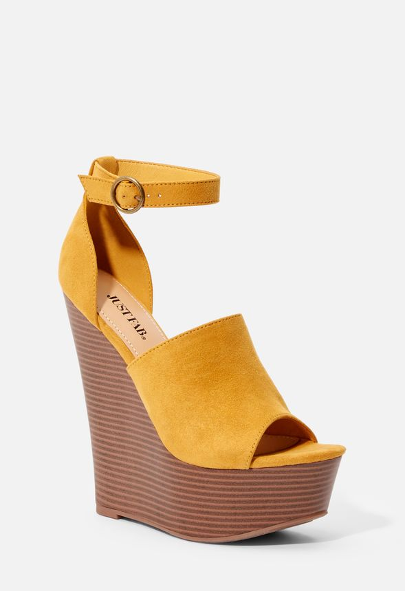 c78f278021be Having Fun Platform Wedge in golden yellow - Get great deals at JustFab