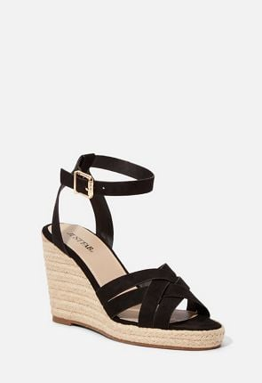 3c8695cc07b Women's Black Wedge Sandals On Sale - 75% Off Your First Item! | JustFab
