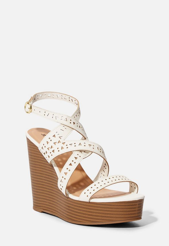 f8d121ebf Escapade Strappy Wedge in White - Get great deals at JustFab