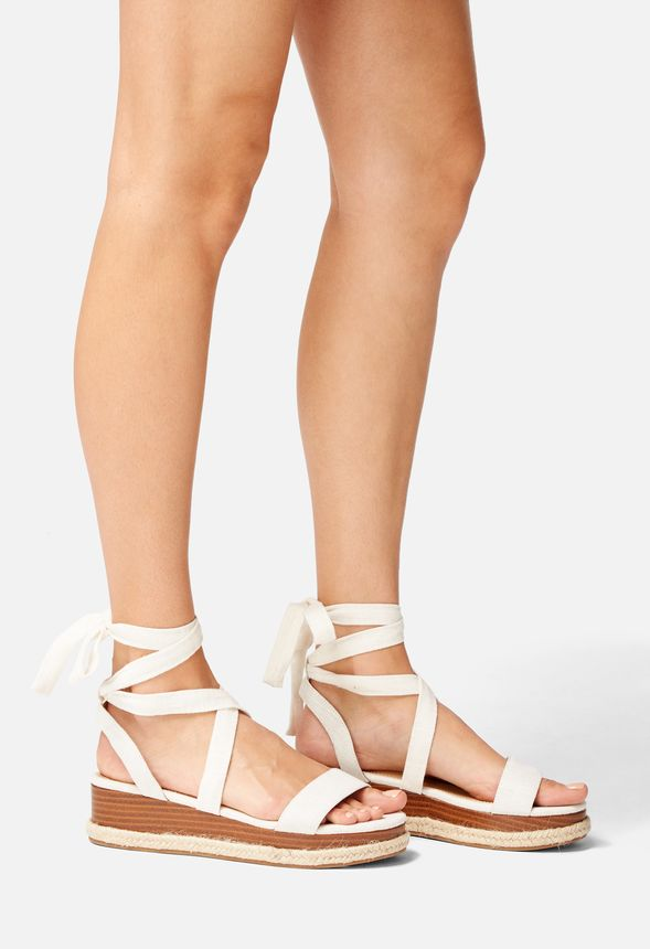 Aloha Ankle Tie Wedge in Natural - Get great deals at JustFab