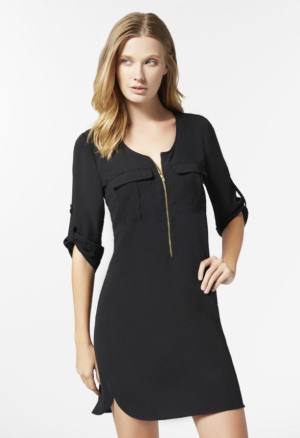 Zipper Front Shift Dress In Black Get Great Deals At Justfab