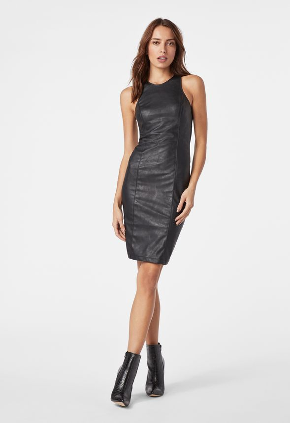 2bf5ca86d553 Faux Leather Ponte Dress in Black - Get great deals at JustFab