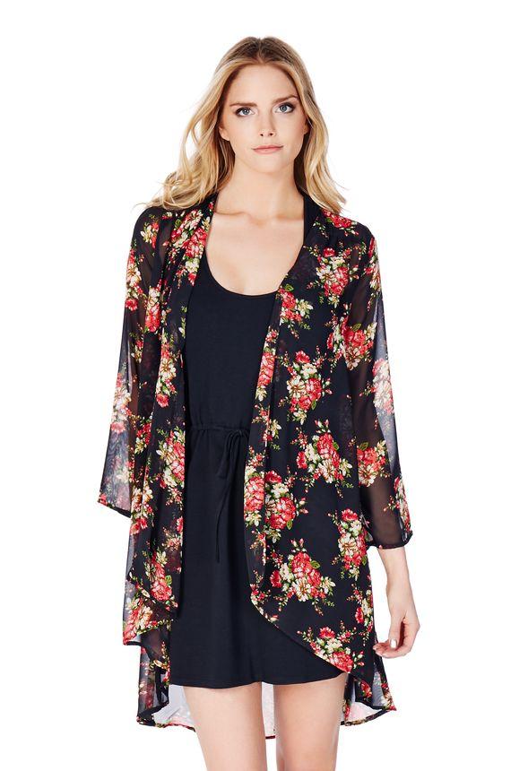 90c47c9567993 Floral Print Kimono in Black Multi - Get great deals at JustFab