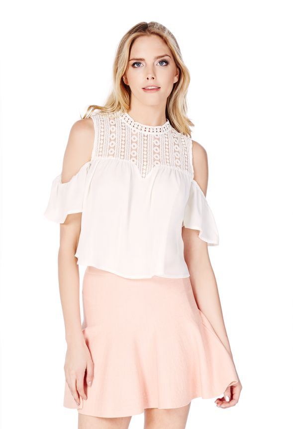 9127761e4834a0 Crochet Cold Shoulder Top in Off-White - Get great deals at JustFab