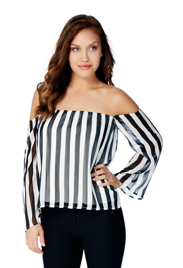 212932b05a4454 Off Shoulder Bell Sleeve Top in Black White - Get great deals at JustFab