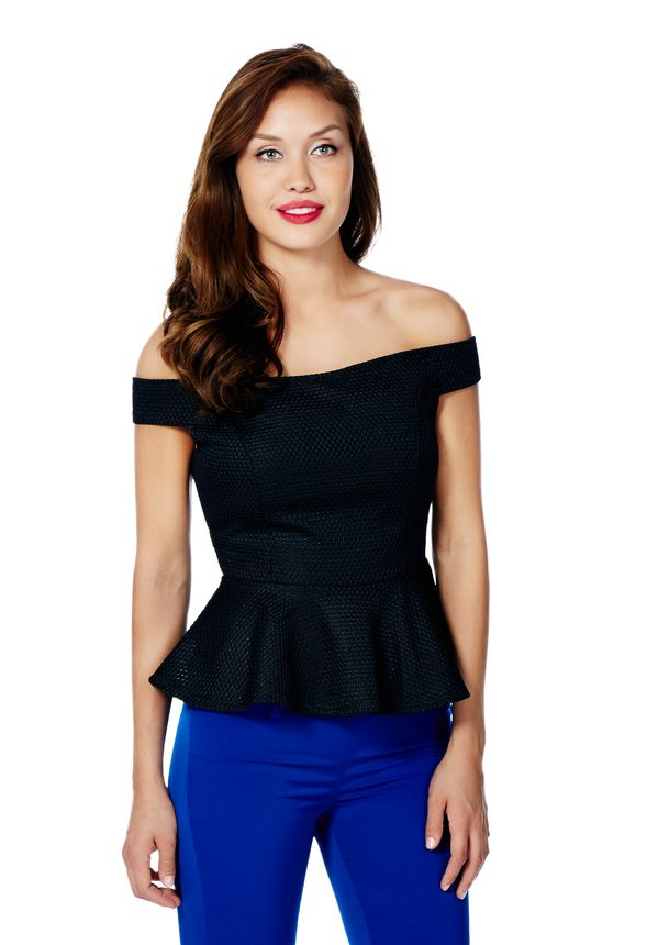 e812702a1f7 Off Shoulder Peplum Top in Black - Get great deals at JustFab