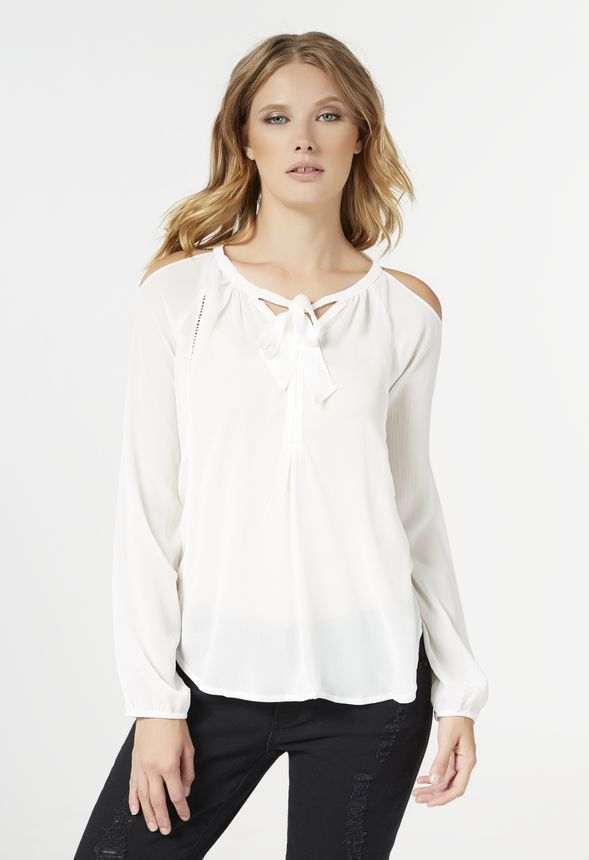 4809ce1ffb0dcd Cold Shoulder Tie Front Top in Off-White - Get great deals at JustFab