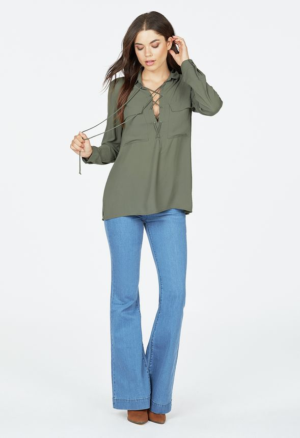 Lace Up Pocket Blouse in Olive - Get great deals at JustFab 53b3143c3