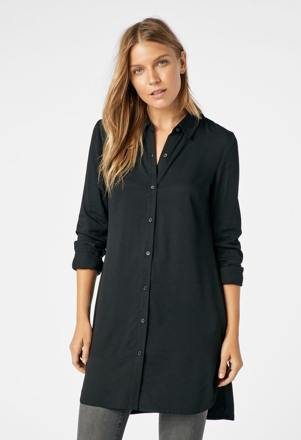 4f39f24f9 Button Down Tunic Blouse in Black - Get great deals at JustFab