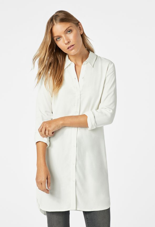 f918f3a89 Button Down Tunic Blouse in WINTER WHITE - Get great deals at JustFab