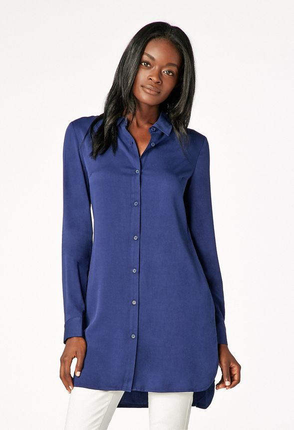 3f814f771 Button Down Tunic Blouse in INDIGO - Get great deals at JustFab