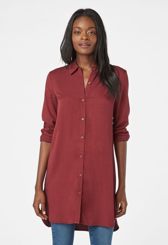 f4e679afd Button Down Tunic Blouse in CABERNET - Get great deals at JustFab