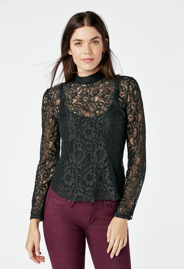 309feee3dd023d Zip Back Lace Blouse in Black - Get great deals at JustFab