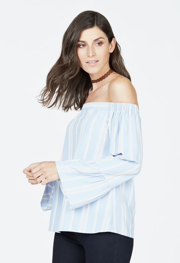 a526fb27a0bb8 Mix Stripe Off Shoulder Top in Blue Multi - Get great deals at JustFab