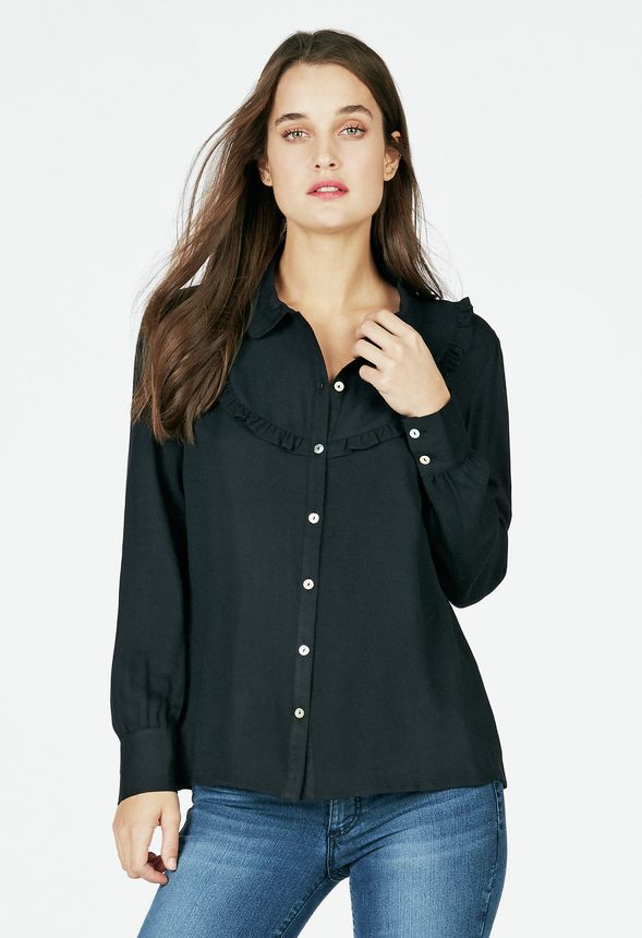 Ruffle Front Blouse In Black Get Great Deals At Justfab