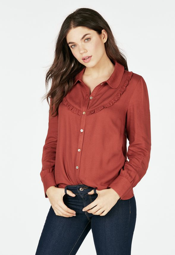 Ruffle Front Blouse In Cinnamon Get Great Deals At Justfab
