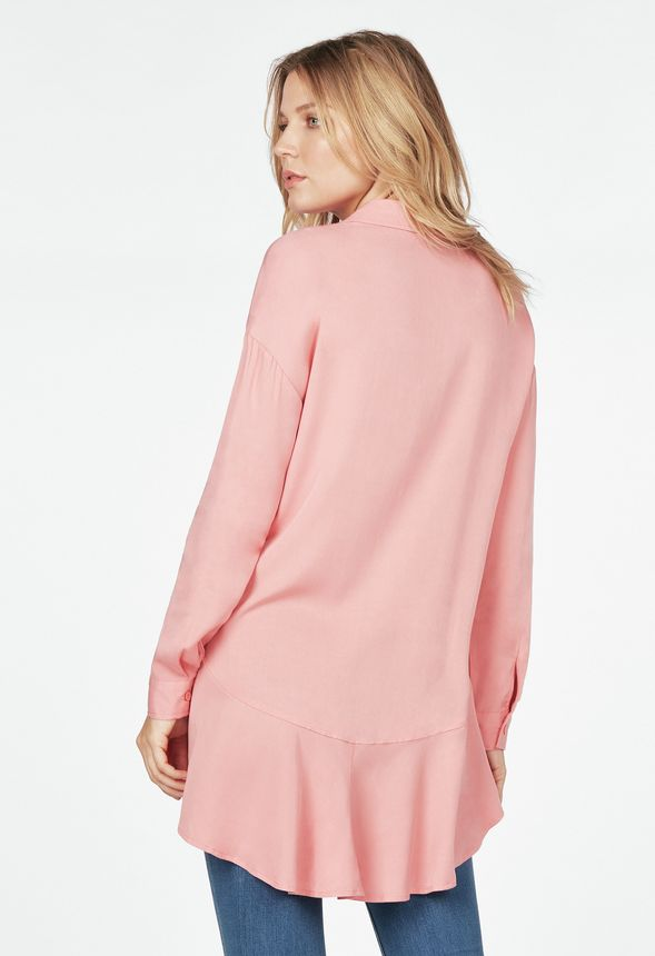 a8ce1c6b Peplum Button Up Blouse in Coral Blush - Get great deals at JustFab