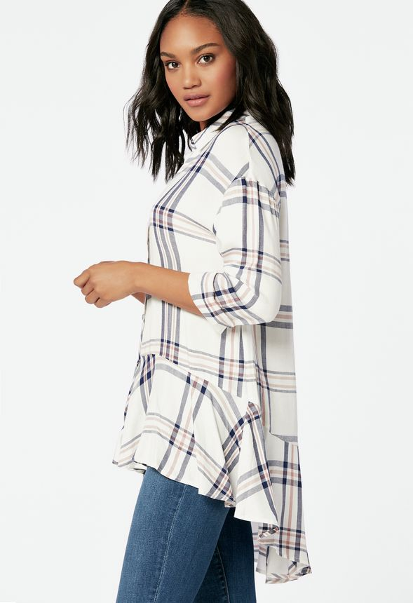 b32c2229 Peplum Button Up Blouse in WHITE MULTI - Get great deals at JustFab